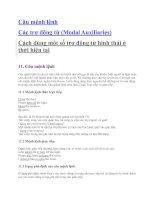 Câu mệnh lệnh Các trợ động từ (Modal Auxiliaries)