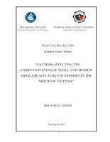 Các yếu tố ảnh hưởng đến năng lực cạnh tranh của các doanh nghiệp vừa và nhỏ ngành nuôi trồng thủy sản ở khu vực miền bắc việt nam