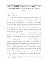 HOÀN THIỆN KẾ TOÁN BÁN HÀNG VÀ XĐKQ TT TẠI CÔNG TY CỔ PHẦN VẬT TƯ NÔNG NGHIỆP QUẢNG BÌNH