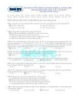 Đáp án đề thi môn Hóa khối A và B hệ Cao Đẳng năm 2009