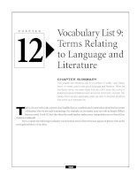 Vocabulary list 9 - Terms Relating to Language and Literature