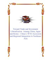 Toward Trade and Investment Liberalization Among China, Japan and Korea – China's WTO Accession and Regional Integration in Northeast Asia