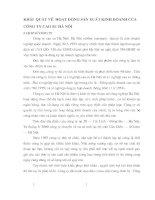 KHÁI  QUÁT VỀ  HOẠT ĐỘNG SẢN XUẤT KINH DOANH CỦA CÔNG TY CAO SU HÀ NỘI