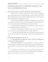GIẢI PHÁP ĐA DẠNG HOÁ SẢN PHẨM NƯỚC ÉP TRÁI CÂY  TẠI CÔNG TY CỔ PHẦN THĂNG LONG
