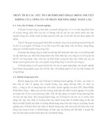 PHÂN TÍCH CÁC YẾU TỐ CHI PHỐI ĐẾN HOẠT ĐỘNG TRUYỀN THÔNG CỦA CÔNG TY CỔ PHẦN THƯƠNG HIỆU TOÀN CẦU