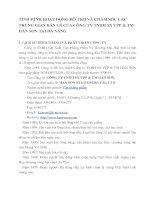 TÌNH HÌNH HOẠT ĐỘNG HỖ TRỢ VÀ CHĂM SÓC CÁC TRUNG GIAN BÁN LẺ CỦA CÔNG TY TNHH SX VPP & TM HÁN SƠN TẠI ĐÀ NẴNG