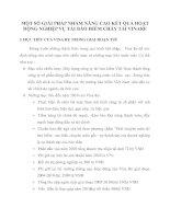 MỘT SỐ GIẢI PHÁP NHẰM NÂNG CAO KẾT QUẢ HOẠT ĐỘNG NGHIỆP VỤ TÁI BẢO HIỂM CHÁY TÁI VINARE