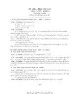2 đề kiểm tra Học kỳ I Môn Toán lớp 11 tham khảo và đáp án số 1+2