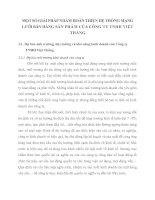 MỘT SỐ GIẢI PHÁP NHẰM HOÀN THIỆN HỆ THỐNG MẠNG LƯỚI BÁN HÀNG SẢN PHẨM CỦA CÔNG TY TNHH VIỆT THẮNG