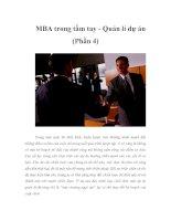 MBA trong tầm tay - Quản lí dự án (Phần 4)