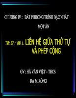 Bài soạn LIEN HE GIUA THU TU VA PHEP CONG