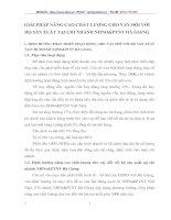 GIẢI PHÁP NÂNG CAO CHẤT LƯỢNG CHO VAY ĐỐI VỚI HỘ SẢN XUẤT TẠI CHI NHÁNH NHNO&PTNT HÀ GIANG