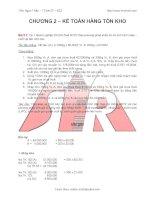 Bài tập có lời giải kế toán TCDN chương 2 - Kế toán hàng tồn kho