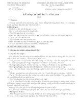 KẾ HOẠCH THÁNG 12 - TỔ 2