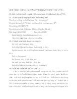 GIỚI THIỆU CHUNG VỀ CÔNG TY CỔ PHẦN THUỐC THÚ Y TW 1