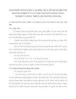 GIẢI PHÁP NHẰM NÂNG CAO HIỆU QUẢ TÍN DỤNG ĐỐI VỚI DOANH NGHIỆP VỪA VÀ NHỎ TẠI NGÂN HÀNG NÔNG NGHIỆP VÀ PHÁT TRIỂN CHI NHÁNH LÁNG HẠ