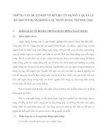 NHỮNG VẤN ĐỀ CƠ BẢN VỀ RỦI RO TÍN DỤNGVÀ QUẢN LÝ RỦI RO TÍN DỤNGTRONG CÁC NGÂN HÀNG THƯƠNG MẠI
