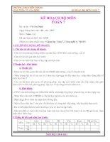 Bài soạn Kế hoạch giảng dạy Toán 7