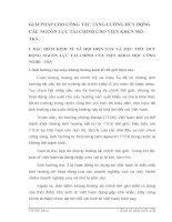 GIẢI PHÁP CHO CÔNG TÁC TĂNG CƯỜNG HUY ĐỘNG CÁC NGUỒN LỰC TÀI CHÍNH CHO VIỆN KHCN MỎ - TKV.