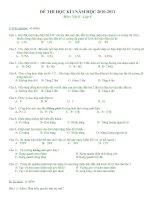 Đề thi học kỳ I Vật lý 9