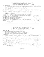 Đề KT học kì 1 vật lý 11 tự luận