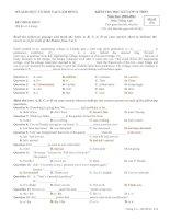 Đề thi HK 1 môn Tiếng Anh Tỉnh Lâm Đồng (có đáp án)