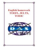 English homework TOEFL, IELTS, TOEIC