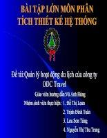 Phân tích thiết kế hệ thống Quản lý hoạt động du lịch của công ty ODC travel