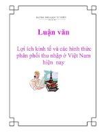 Luận văn: Lợi ích kinh tế và các hình thức phân phối thu nhập ở Việt Nam hiện nay