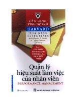 Cẩm nang kinh doanh Harvard - Quản lý hiệu suất làm việc của nhân viên