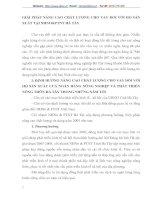 GIẢI PHÁP NÂNG CAO CHẤT LƯỢNG CHO VAY ĐỐI VỚI HỘ SẢN XUẤT TẠI NHNO&PTNT HÀ TÂY