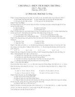 Câu hỏi trắc nghiệm chương I Lý 11