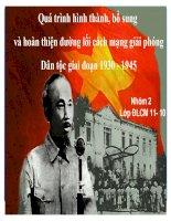 Quá trình hình thành, bổ sung và hoàn thiện đường lối cách mạng giải phóng Dân tộc giai đoạn 1930 - 1945