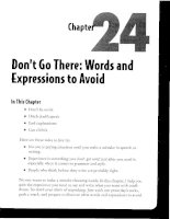 Don''t Go There - Words and Expressions to Avoid