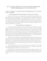 SỰ CẦN THIẾT, THÔNG TIN SỬ DỤNG, PHƯƠNG PHÁP PHÂN TÍCH TÌNH HÌNH QUẢN LÝ VÀ SỬ DỤNG VỐN