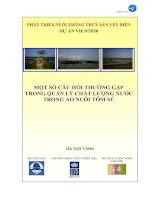 Một số câu hỏi thường gặp trong quản lý chất lượng nước trong ao nuôi tôm sú