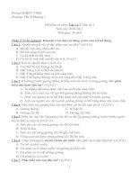 Đề kiểm tra môn: Vật Lý 7. Học kỳ I