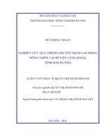 Luận văn nghiên cứu quá trình chuyển dịch lao động nông thôn tại huyện cẩm giàng, tỉnh hải dương