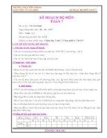 Tài liệu Kế hoạch giảng dạy Toán 7