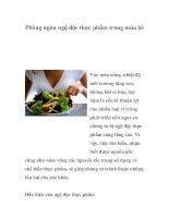 Phòng ngừa ngộ độc thực phẩm trong mùa hè