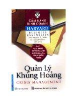 Cẩm nang kinh doanh Harvard - Quản lý khủng hoảng