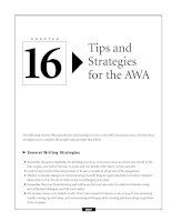Tips and Strategies for the AWA