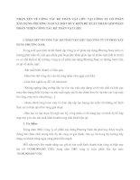 NHẬN XÉT VỀ CÔNG TÁC KẾ TOÁN VẬT LIÊU TẠI CÔNG TY CỔ PHẦN XÂY DỰNG PHƯƠNG NAM VÀ MỘT SỐ Ý KIẾN ĐỀ XUẤT NHẰM GÓP PHẦN HOÀN THIỆN CÔNG TÁC KẾ TOÁN VẬT LIỆU