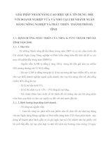 GIẢI PHÁP NHẰM NÂNG CAO HIỆU QUẢ TÍN DỤNG  ĐỐI VỚI DOANH NGHIỆP VỪA VÀ NHỎ TẠI CHI NHÁNH NGÂN HÀNG NÔNG NGHIỆP VÀ PHÁT TRIỂN  THÀNH PHỐ HÀ TĨNH