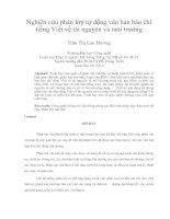 Nghiên cứu phân lớp tự động văn bản báo chí tiếng Việt về tài nguyên và môi trường