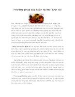 Phương pháp bảo quản rau trái tươi lâu