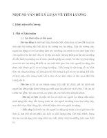 MỘT SỐ VẤN ĐỀ LÝ LUẬN VỀ TIỀN LƯƠNG