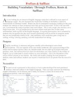 Bài soạn Prefixes & Suffixes