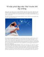 18 việc phái đẹp nên 'thử' trước khi lấy chồng