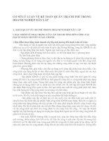 CƠ SỞ LÝ LUẬN VỀ KẾ TOÁN QUẢN TRỊ CHI PHÍ TRONG DOANH NGHIỆP XÂY LẮP